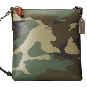 Green Camo Leather North/South Swingpack